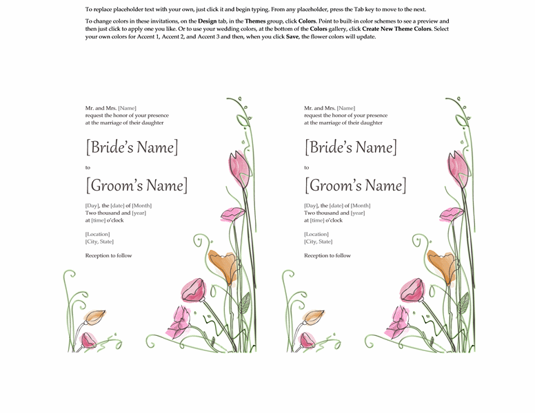 Microsoft Word 2013 Wedding Invitation Templates | Online