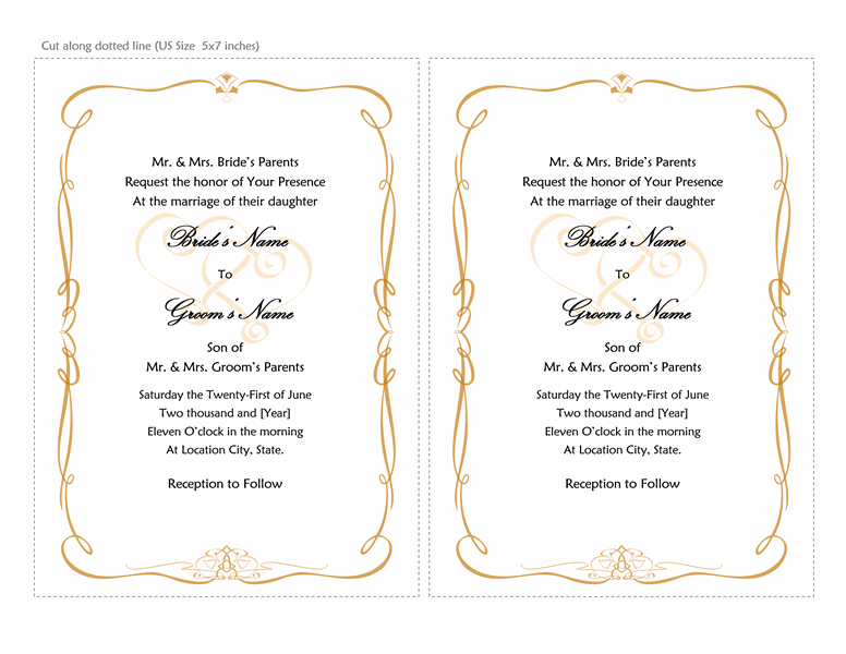 Microsoft Word 2013 Wedding Invitation Templates | Online ...