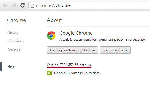 Google Chrome 27 beta